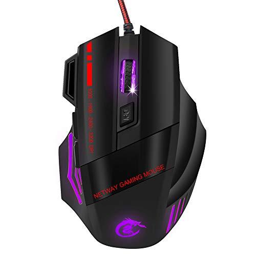 Baiyi kleurrijke en heldere, optische muis met kabel, draagbare muis voor games op kantoor thuis, hoge prestaties