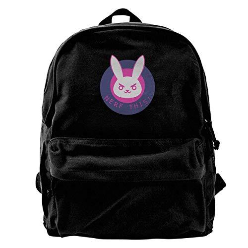 D.va Canvas Rucksack Overwatch Rucksack Gym Wandern Laptop Schultertasche Daypack für Herren Damen