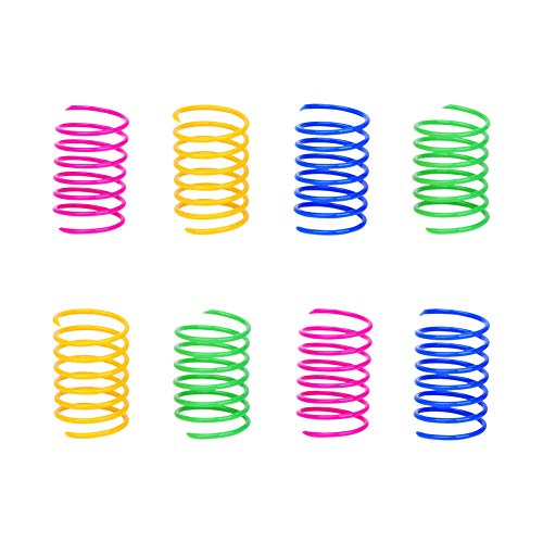 ISMARTEN Cat Spring Toy (60 Pack), Cat Kittens Toys Plastic Coil Spiral Springs for Swatting, Biting, Hunting, and Active Healthy Play (Random Color)