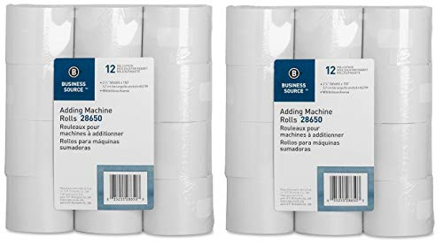 Business Source Receipt Paper 2.25 Inch x 150 Pack of 12 Rolls - White (28650) (Тwo Рack)