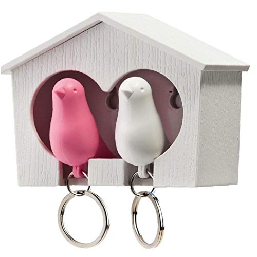 tJexePYK Titular de la Clave casa del pájaro Llaveros Duo gorrión de Madera casa del pájaro sostenedor de la Llave del pájaro del gorrión Key Ring (y Rosado del pájaro)