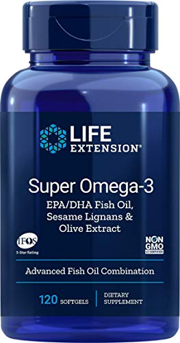 Life Extension Europe Super Omega-3 EPA/DHA with Sesame Lignans and Olive Extract Soft Gels, 120-Count