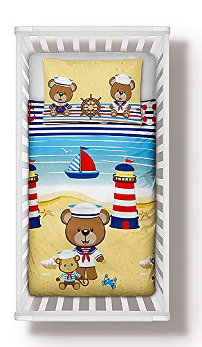 Nautical Nursery Bedding Set Red Teddy Sailor Duvet Cover + Pillowcase to fit Cot/Cot Bed/Toddler Bed Girls Boys 100% Cotton (90x120 cm)