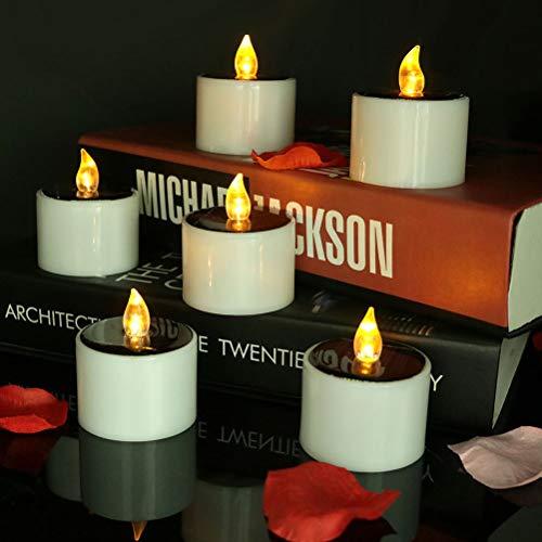 Uonlytech Solarkerzenlicht, wasserdichtes flimmerndes flammenloses schwimmendes Kerzenlicht, solares Teelicht für den Hausgarten des Festivals (2 Stück)