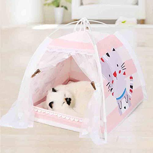NIUPAN Draagbaar opvouwbaar hondenhok voor honden, ademend kattenhuis met print en net voor binnenshuis, mesh, kleine hondenhok voor kleine honden
