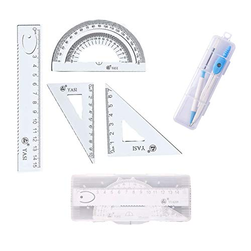 Juego de brújula de geometría, Lre Co. 5 piezas de matemáticas escolares transportador de dibujo material de papelería educativo, juego de dibujo con lápiz, reglas rectas y 2 triangulares (blanco)