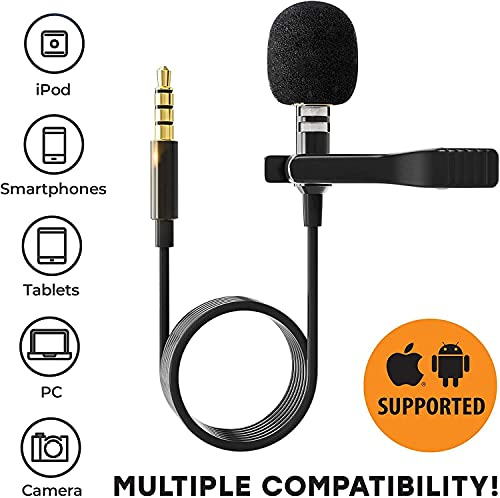 ESSELKAY_ Dynamic Lapel Collar Mic Voice Recording Filter Microphone, Digital Noise Cancellation Clip Collar Mic Condenser for Singing, YouTube, Smartphones (1.5 Meter Long Wire)