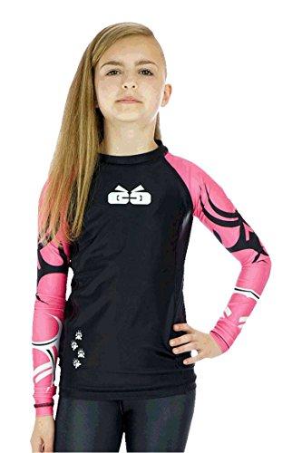 Sicchic Big Girls Mat Monster Rash Guard Size Medium Pink