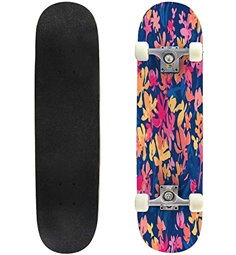 """Colorful vivvid Abstract Summer Flower Watercolor Seamless Pattern for Skateboard 31""""x8"""" Double-Warped Skateboards Outdoor Street Sports Skateboard for Beginners Professionals Cool Adult Teen Gifts"""