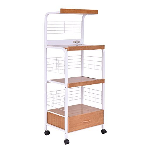 Giantex Microwave Cart Kitchen Baker's Rack Microwave Oven Stand Rolling Kitchen Storage Cart Utensils Organizer w/Electric Outlet and Drawer