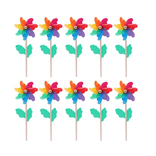 DOITOOL Juego de 10 molinillos de viento coloridos para fiestas de juguete para niños, jardín, césped, decoración de fiestas