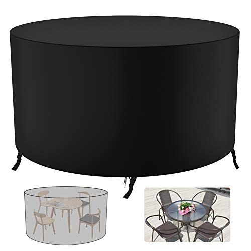Garden Furniture Covers - GEEDIAR Round Garden Table Cover - 420D Heavy Duty Protection Waterproof Windproof Weatherproof & Anti-UV Outdoor Patio Circular Table Cover, 128 x 71 cm (Black)