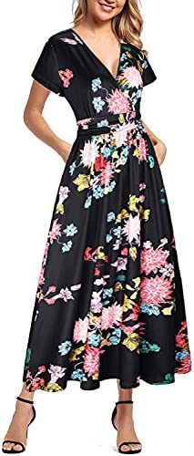 Vestido Largo Mujer Manga Corta Cuello en V Cintura Alta Vestidos Estampado Floral Verano Playa Falda Coctel Fiesta Casual Elegante de Maternidad con Bolsillos (Negro, XL)