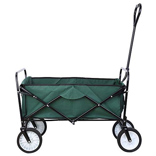 Collapsible Outdoor Utility Wagon, Heavy Duty Folding Garden Portable Hand Cart, with 8' Rubber...