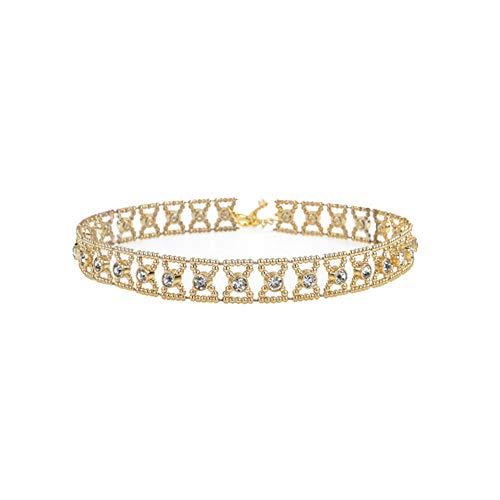 GYJUN Collier Strass Mignon pour Les Femmes Géométriques Creux en Gros Colliers Accessoires Choker Bijoux