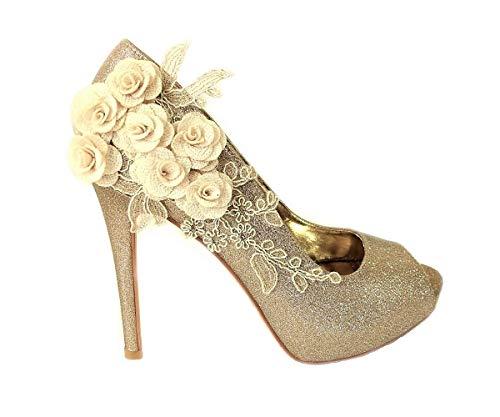 Zapatos de tacón alto para mujer con diseño de flores, con purpurina floral, para boda, novia, graduación, noche, talla, color Dorado, talla 37 EU