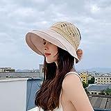 Geekcook Sombrero Mujer Elegante,2021 Verano Nuevo Hecha de Punto Costa Delgada Arco Sol Sombrero Sol Sombrero Dama Fina Cara Grande Lado Grande Vacío Sombrero Top-Beige_M (56-58cm)