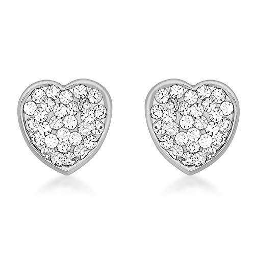 Carissima - Pendientes de oro blanco de 9 quilates, diseño de corazón de cristal, 7 mm x 7 mm