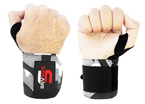 SAWANS Handgelenkbandagen für Gewichtheben, Unterstützung für Bodybuilding, Fitness, Fitness-Studio, für Männer und Frauen, Powerlifting, robust, Daumengriff-Bandage (graues Camo)