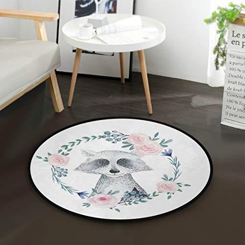 MNSRUU Boho-Teppich, Waschbär-Blumen-Design, rund, für Wohnzimmer, Schlafzimmer, 92 cm Durchmesser