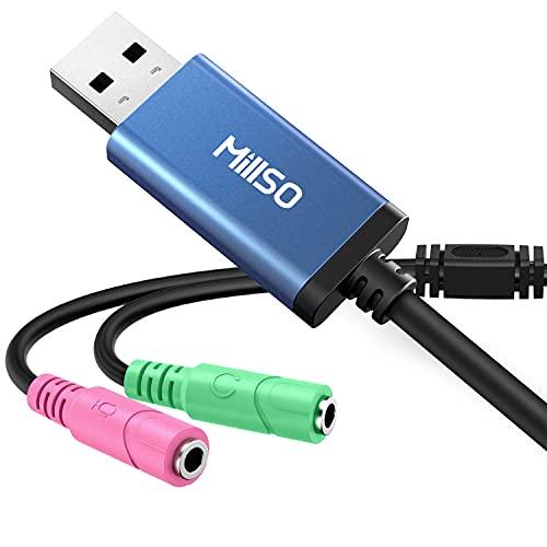 USB Externe Soundkarte für Laptop, Computer, PS5, PS4 USB auf 3.5mm Klinkenbuchse External Sound Card Stereo Sound Audio Adapter Kabel für Headset, Kopfhörer, Lautsprecher oder 3 Pole TRS Mikrofon.