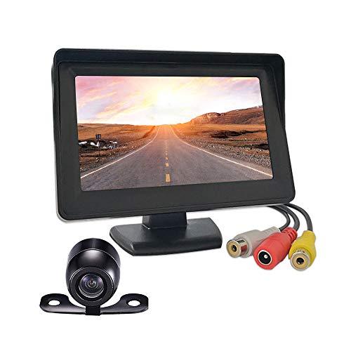 Qmate Display LCD da 4,3 pollici Telecamera di backup e monitor Vista posteriore Schermo monitor per telecamera retromarcia per retrovisione Telecamere di parcheggio di backup del veicolo