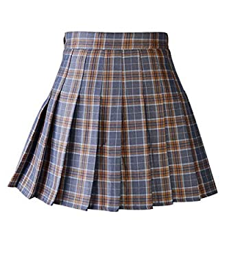 Abberrki Women's High Waist Plaid Mini Skirt A-Line Pleated Skirt School Uniforms Short Skirt