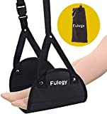 Airplane Footrest - Portable Travel Accessories to Relax Your Feet, Under Desk Footrest Adjustable Height Foot Hammock (Black)