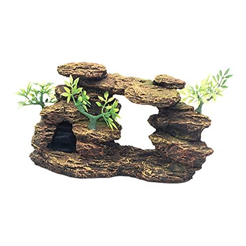 Fenteer Vivid Acuario decoración de rocalla pecera de Resina Vista de la montaña Adorno de Piedra Cueva de escondite de Peces decoración de Piedra Pesca