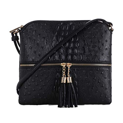 SG SUGU Animal Pattern Lightweight Medium Crossbody Bag with Tassel for Women   Black