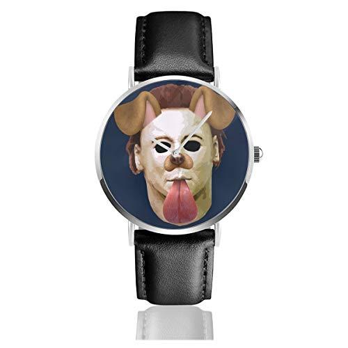 Unisex Business Casual Halloween Michael Myres Maske Hund Snapchat Filter Uhren Quarz Leder Uhr mit schwarzem Lederband für Männer Frauen Junge Kollektion Geschenk