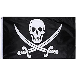 Hestya Jolly Roger Pirate Flag Pirate Day, Halloween Party, Pirate Themed Party, Birthday Party, 1 Pack, 3 5 Feet