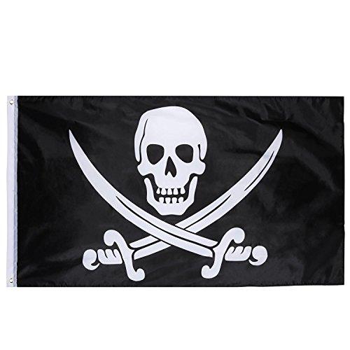 Jolly Roger Bandiera Pirata per Il Giorno di Pirata, Festa di Halloween, Festa a Tema Pirata, Festa di Compleanno, 1 Pezzo, 3 per 5 Piedi