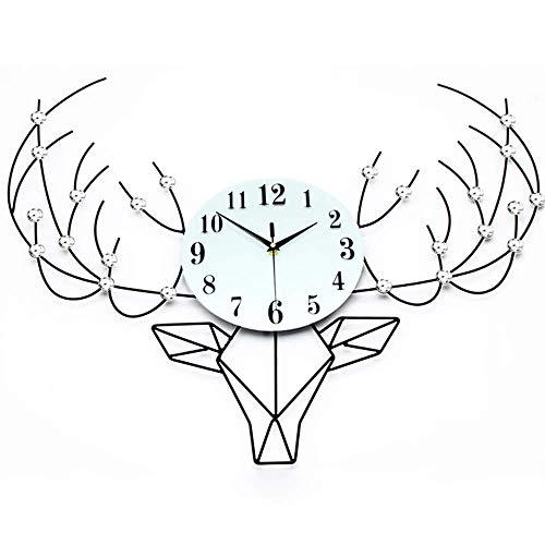 YPZ Reloj de pared silencioso para interiores, reloj de pared, reloj creativo de moda, cabeza de ciervo, silencioso, batería silenciosa, fácil de leer para decoración de interiores
