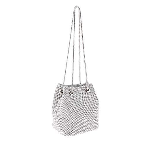Damara Bucket Bag Strassstein Abendtasche Handtasche Hochzeit Kettentasche Handytasche Eimer Tasche - Silber