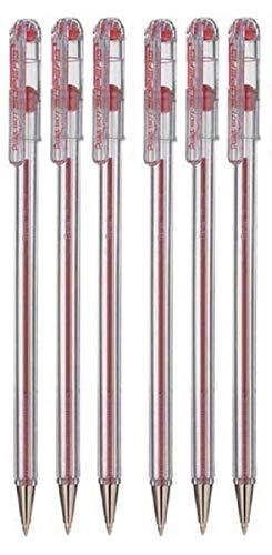 Pentel Rot Hervorragende Kugelschreiber Kugelschreiber 0.7mm Spitze Spitze 0.25mm Linienbreite Feine Linie Nachfüllbare Tinte BK77 (6 Stück)