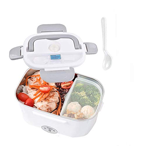electric lunch box for car and home,electric heating lunch boxes,hot food warmer 12V/24V/110V,portable thermos with Spoon and Two Compartments(Gray)