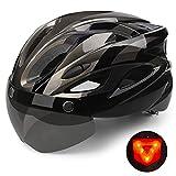 Shinmax Casco Bicicleta con luz, Certificación CE,con Visera...