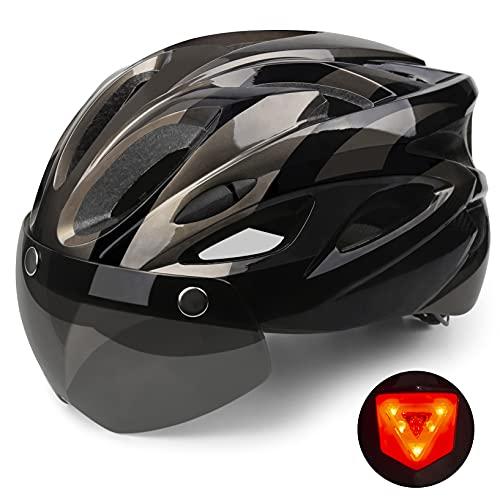 Shinmax Casco Bicicleta con luz, Certificación CE,con Visera Magnética Seguridad Ajustable Desmontable Deporte Gafas de Protección Ligera para Montar Ski & Snowboard Unisex Cascos Bici Adultos 56-62cm