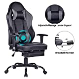 Blue Whale Massage Gaming Chair with Footrest, High Back Racing PC Computer Desk Office Chair Swivel Ergonomic Executive Leather Chair with Adjustable Armrest 8332Grey