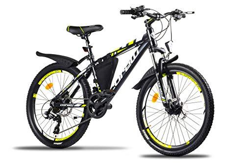 Corelli Dark Mountainbike 29 Zoll, 27,5 Zoll 26 Zoll 24 Zoll mit Aluminium-Rahmen, Shimano 21 Gang-Schaltung & Gabelfederung als Herren-Damen-Fahrrad, Jungen-Mädchen-Fahrrad, Kinder-Fahrrad