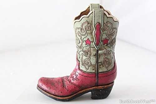 Texas Cowgirl Rustic Pink Blue Hand Tooled Leather Look Boot Piggy Bank Hand Painted Decoration