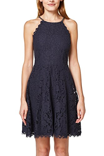 ESPRIT Collection Damen 048EO1E028 Kleid, Blau (Navy 400), 38