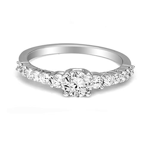 Mothers Day Gifts IGI Certified Lab Grown Diamond Rings 10K White Gold 3/4 carat Lab Created Diamond Solitaire with Pave Ring For Women ( 3/4 CTTW, FG Color, SI1-SI2 Clarity Diamond Gifts for Mom)