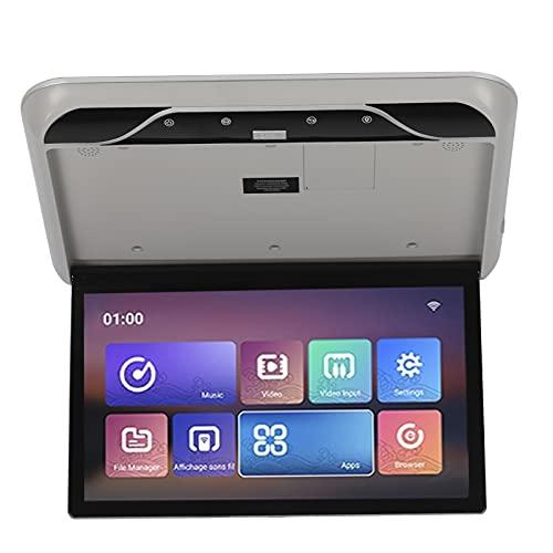 Monitor de montaje en techo de coche, monitor abatible de montaje en techo de coche de 19 pulgadas, TV de techo HDMI, compatible con control remoto para Android(gris)