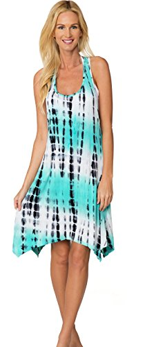 INGEAR Tie Dye Dress Summer Casual Handkerchief Backless Sundress Cover Up (Small, Turquoise Tie Dye)