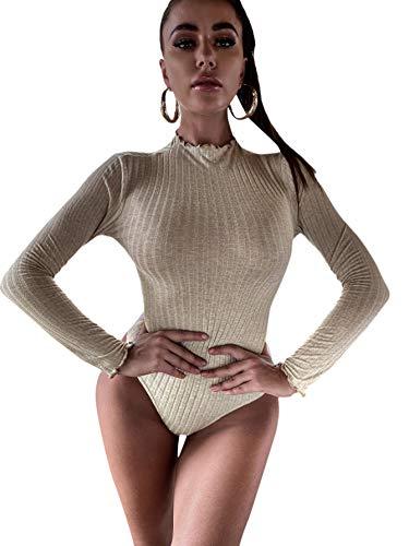 DIDK Damen Strick Bodysuit Bodys Langarm T-Shirt Oberteil Body Schmal Damenbody Langarmshirt Tee Casual Shirts mit Wellensaum Aprikosenfarben S