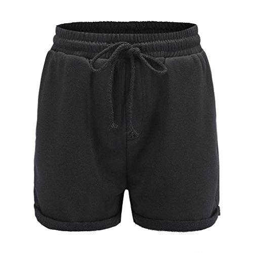 Frauen Hotpants FORH Mädchen Beiläufige Hohe Taillen Shorts Einfarbig Crimpen Lose Sport Fitness Hot Pants Sommer Strand Pants Yoga Athletik Tanzen Kurze Hosen Basic Ultra Shorts (M, Schwarz)