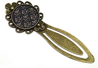 Segnalibri retro libro fiori loto blu bianco marrone resina bronzo bronzo diametro 20mm regalo personalizzato natale anniv...
