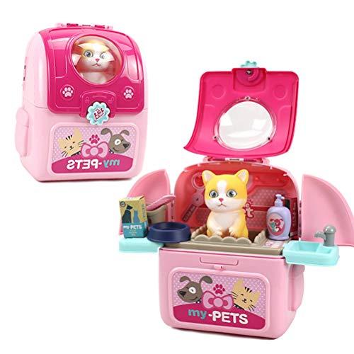 BSTEle Hundepflege Spielzeug Haustier Pflege Rollenspiel Set Kinder Haustier Raumtasche für so tun, als ob Spielzeug Spielzeug Kinder Geschenk